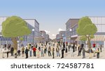 street of a city with a big... | Shutterstock .eps vector #724587781