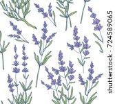 lavender seamless pattern vector | Shutterstock .eps vector #724589065