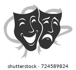 Theater Mask Symbols Vector Se...