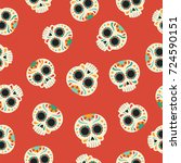 day of the dead seamless... | Shutterstock .eps vector #724590151