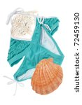 Summer Bikini Concept with Teal Ruffle Bathing Suit Isolated on White. - stock photo