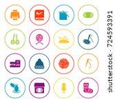 set of 16 handcraft icons set... | Shutterstock .eps vector #724593391
