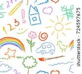 children doodle sketch seamless ... | Shutterstock .eps vector #724597675