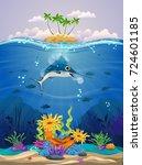 beautiful coral reefs  anemones ... | Shutterstock .eps vector #724601185