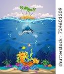 beautiful coral reefs  anemones ... | Shutterstock .eps vector #724601209
