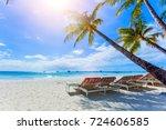 palms  beautiful white sand... | Shutterstock . vector #724606585