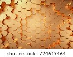 golden hexagonal honeycomb... | Shutterstock . vector #724619464