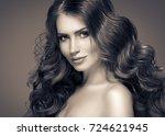 brunette hair woman beauty... | Shutterstock . vector #724621945