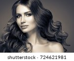brunette hair woman beauty... | Shutterstock . vector #724621981