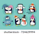 penguin christmas vector...   Shutterstock .eps vector #724629994