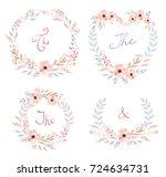 floral frame collection. set of ... | Shutterstock . vector #724634731