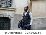 portrait of handsome african... | Shutterstock . vector #724642159