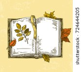 open book with herbarium and... | Shutterstock .eps vector #724644205