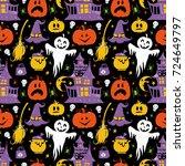 vector halloween seamless... | Shutterstock .eps vector #724649797