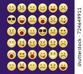 set of smile icons. emoji.... | Shutterstock .eps vector #724649911