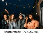 four beautiful women dancing on ... | Shutterstock . vector #724652701