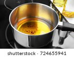 saucepan with used vegetable... | Shutterstock . vector #724655941
