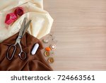 silk fabrics and objects for... | Shutterstock . vector #724663561