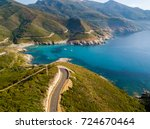 Small photo of Aerial view of the coast of Corsica, winding roads and coves with crystalline sea. Cap Corse Peninsula, Corsica. Coastline. Anse d'Aliso. Gulf of Aliso. France