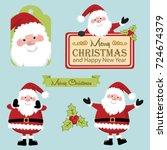 jolly holly santa   Shutterstock .eps vector #724674379