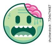 vector cartoon zombie emoji...   Shutterstock .eps vector #724674487