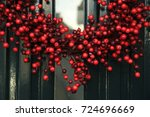 berry christmas wreath with... | Shutterstock . vector #724696669