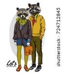 vector raccoons hand drawn