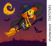 cartoon pretty funny witch... | Shutterstock .eps vector #724717651