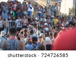 summer beach party. people at...   Shutterstock . vector #724726585