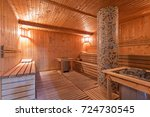 sauna interior   Shutterstock . vector #724730545