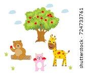 animal set at apple tree.... | Shutterstock .eps vector #724733761