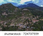 Small photo of MISTRAS, LACONIA - SEPTEMBER 2017: Aerial panoramic view of iconic Byzantine and medieval fortified despotate of Mystras on Mount Taygetus locaten near Sparti town, Laconia, Peloponnese, Greece