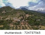Small photo of Aerial panoramic view of iconic Byzantine and medieval fortified despotate of Mystras on Mount Taygetus locaten near Sparti town, Laconia, Peloponnese, Greece