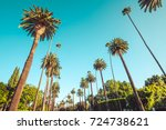 Small photo of Only on Beverly Drive Los Angeles. Beverly drive in Beverly Hills, California. Vintage style image meant to portray the affluence of Losa Angeles and it's historic neighborhoods.