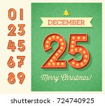 retro christmas greeting card... | Shutterstock .eps vector #724740925