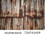 old rusty galvanized ... | Shutterstock . vector #724741459