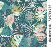 seamless exotic pattern with... | Shutterstock .eps vector #724756399