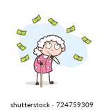 cartoon granny thinking of... | Shutterstock .eps vector #724759309