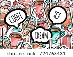 colorful seamless drinks... | Shutterstock .eps vector #724763431