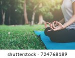 yoga concept. young woman... | Shutterstock . vector #724768189