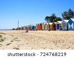 brighton beach and colorful...   Shutterstock . vector #724768219
