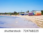 brighton beach and colorful...   Shutterstock . vector #724768225