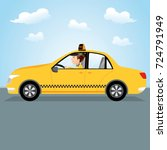 taxi driver driving the on the... | Shutterstock .eps vector #724791949