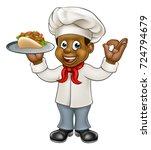 a black chef cartoon character... | Shutterstock . vector #724794679
