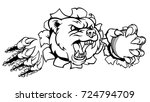 a bear angry animal sports... | Shutterstock . vector #724794709