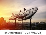 antennas pointing the sky with... | Shutterstock . vector #724796725