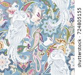 seamless paisley pattern with... | Shutterstock . vector #724805155