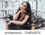 portrait of beautiful woman... | Shutterstock . vector #724810375