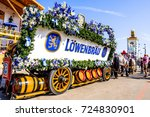 MUNICH, GERMANY - SEPTEMBER 26: brewery horses at the biggest folk festival in the world - the octoberfest on september 26, 2017 in munich. - stock photo