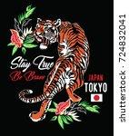 japanese style tiger vector... | Shutterstock .eps vector #724832041